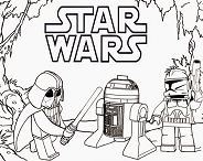 Lego Star Wars – Darth Vader and R2 Coloring Page