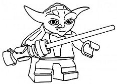 Lego Star Wars Yoda Coloring Page