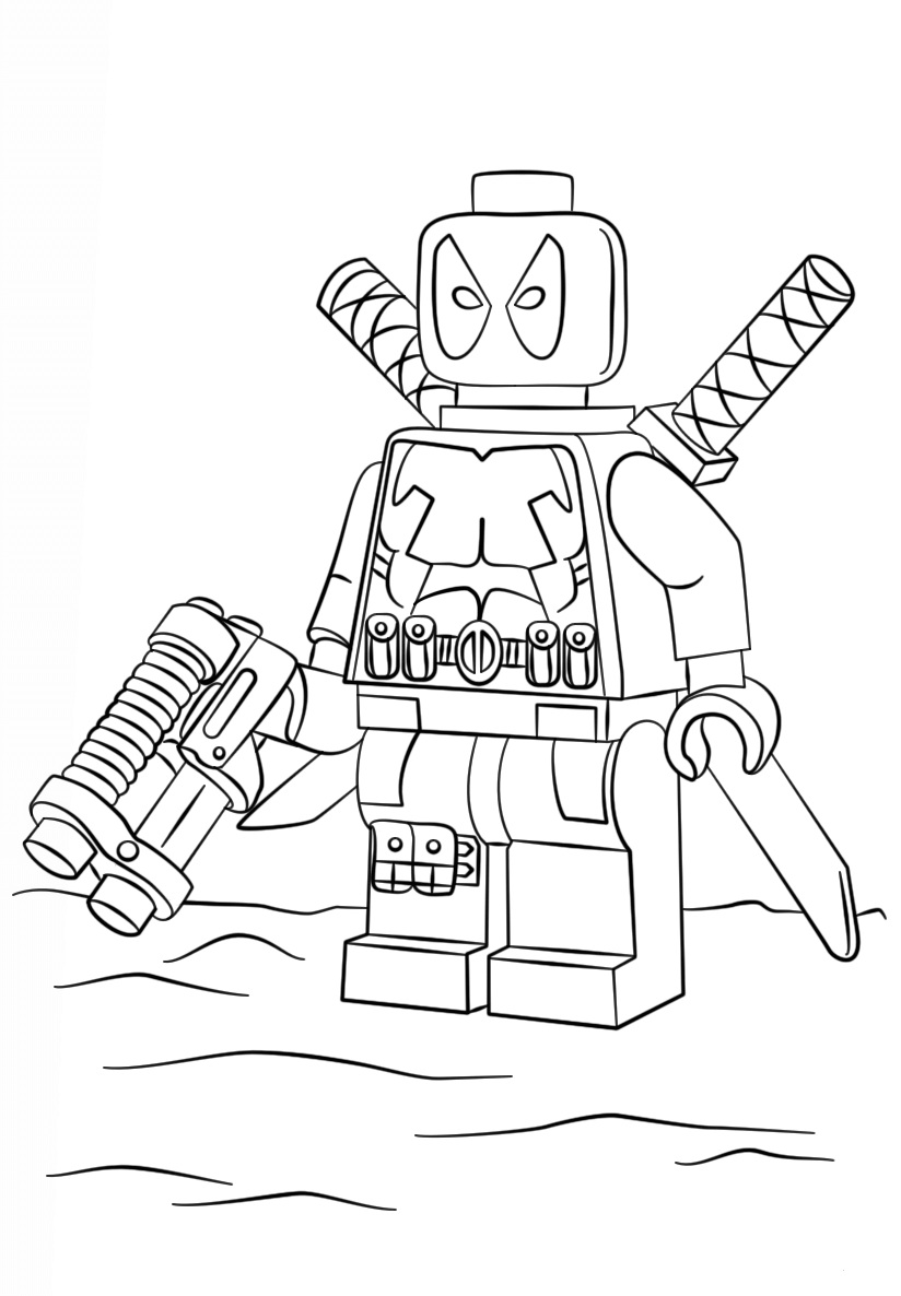 Lego Super Heroes Deadpool Coloring Page