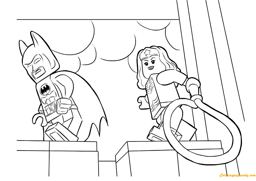 Lego Wonder Woman Coloring Page