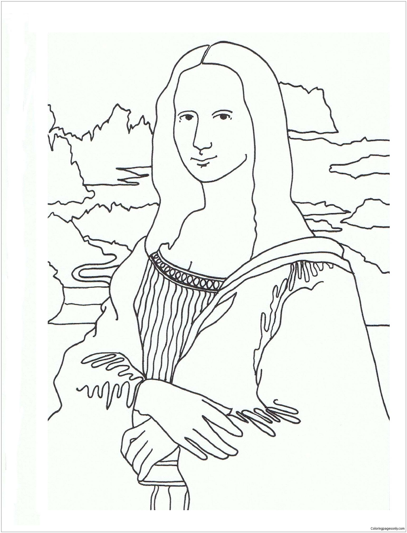 the mona lisa coloring page - Mona Lisa Coloring Page