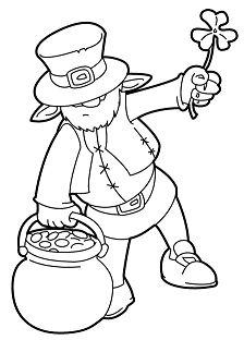 Leprechaun And Pot O Gold Cauldron Coloring Page