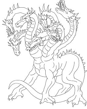 Lernean Hydra The 100 Heads Water Dragon Coloring Page
