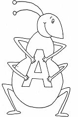 Letter A is for ant Coloring Page