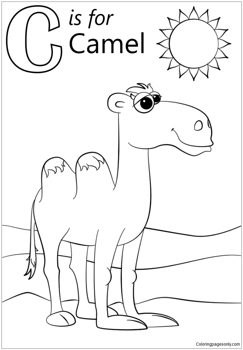 Letter C is for Camel Coloring Page - Free Coloring Pages Online