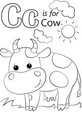 Letter C is for Cow Coloring Page