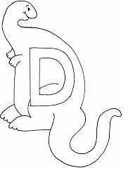 Letter D Is for Dinosaur Coloring Page
