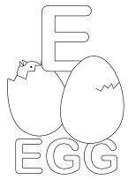 Letter E is for Egg Coloring Page