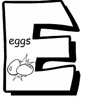 Letter E is for Eggs Coloring Page