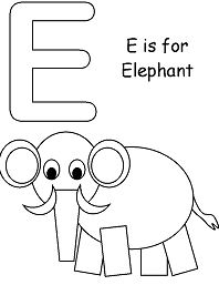 Letter E Is for Elephant 1 Coloring Page