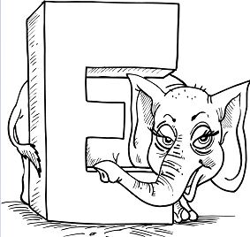 Letter E is for Elephant Coloring Page