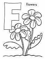 Letter F is for Flower  Coloring Page