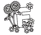 Letter F Is for Flower 1 Coloring Page