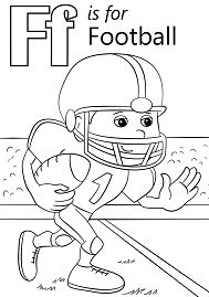 Letter F is for Football Coloring Page