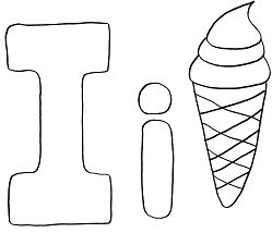 Letter I is for Ice Cream Coloring Page