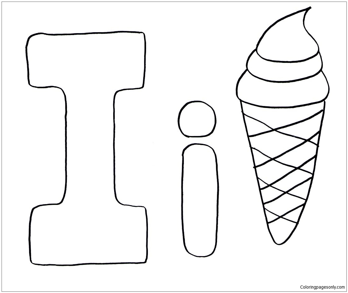 Letter I Is For Ice Cream Coloring Page Free Coloring Pages Online