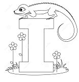 Letter I is for Iguana Coloring Page
