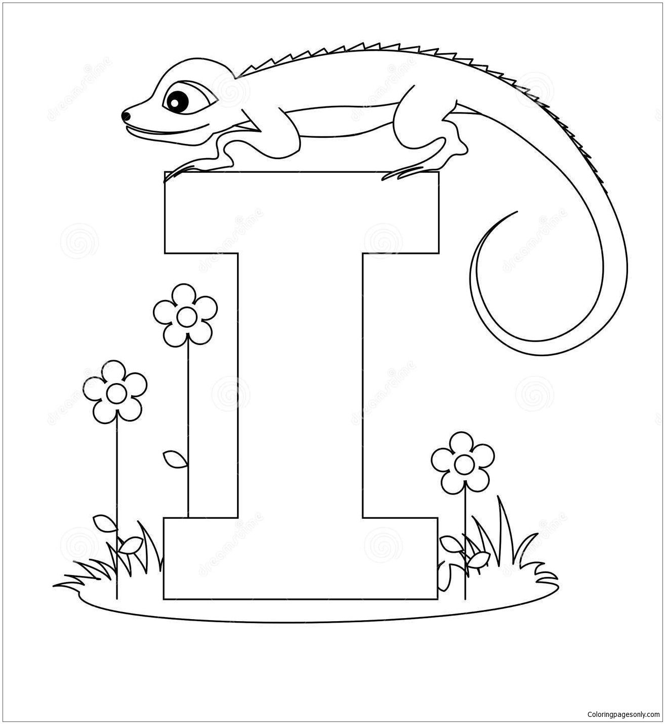Letter I Is For Iguana Coloring Page Free Coloring Pages