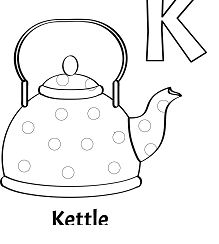 Letter K Is For Kettle Coloring Page