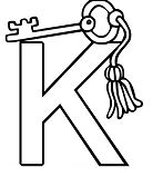 Letter K Is For Key Coloring Page