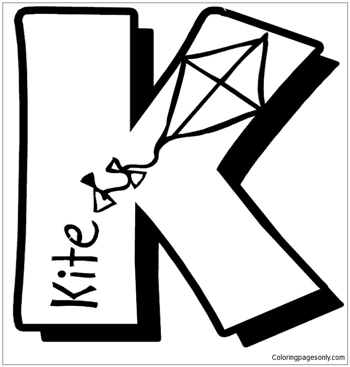 Letter K Is For Kite Coloring Page Free Coloring Pages Online