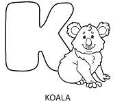 Letter K is for Koala Coloring Page