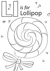 Letter L is for Lollipop Coloring Page