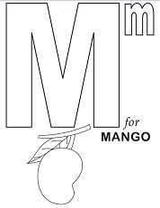 Letter M for Mango Coloring Page