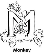 Letter M Is For Monkey Coloring Page
