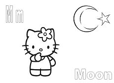 Letter M is for Moon Coloring Page