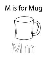 Letter M is for Mug Coloring Page