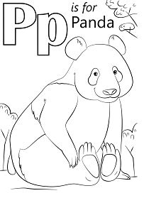 Letter P is for Panda Coloring Page