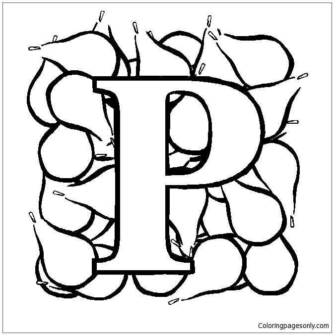 letter p is for pear coloring page free coloring pages online letter p is for pear coloring page