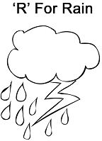 Letter R is for Rain Coloring Page