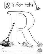 Letter R is for Rake Coloring Page