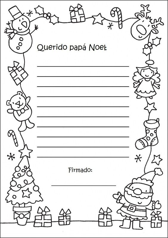 Letter Send To Claus Santa Coloring Page