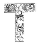 Letter T for Adults Coloring Page