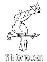 Letter T is for Toucan Coloring Page