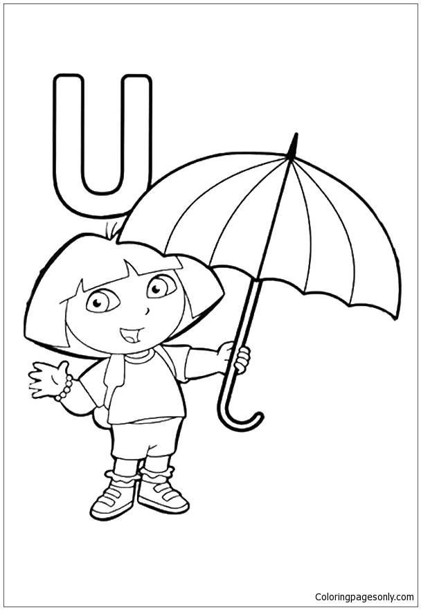Spring rain umbrellas Free printable coloring page from Dover ... | 881x608