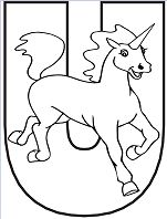 Letter U is for Unicorn Coloring Page