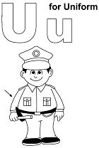 Letter U Is For Uniform  Coloring Page
