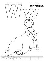 Letter W is for Walrus Coloring Page