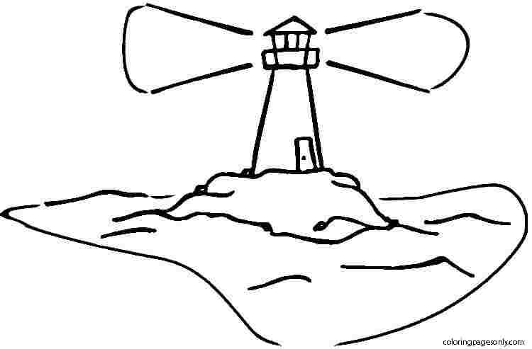 Lighthouse on the island Coloring Page