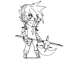 Lightning Boy with the long axe is wearing headphone Coloring Page