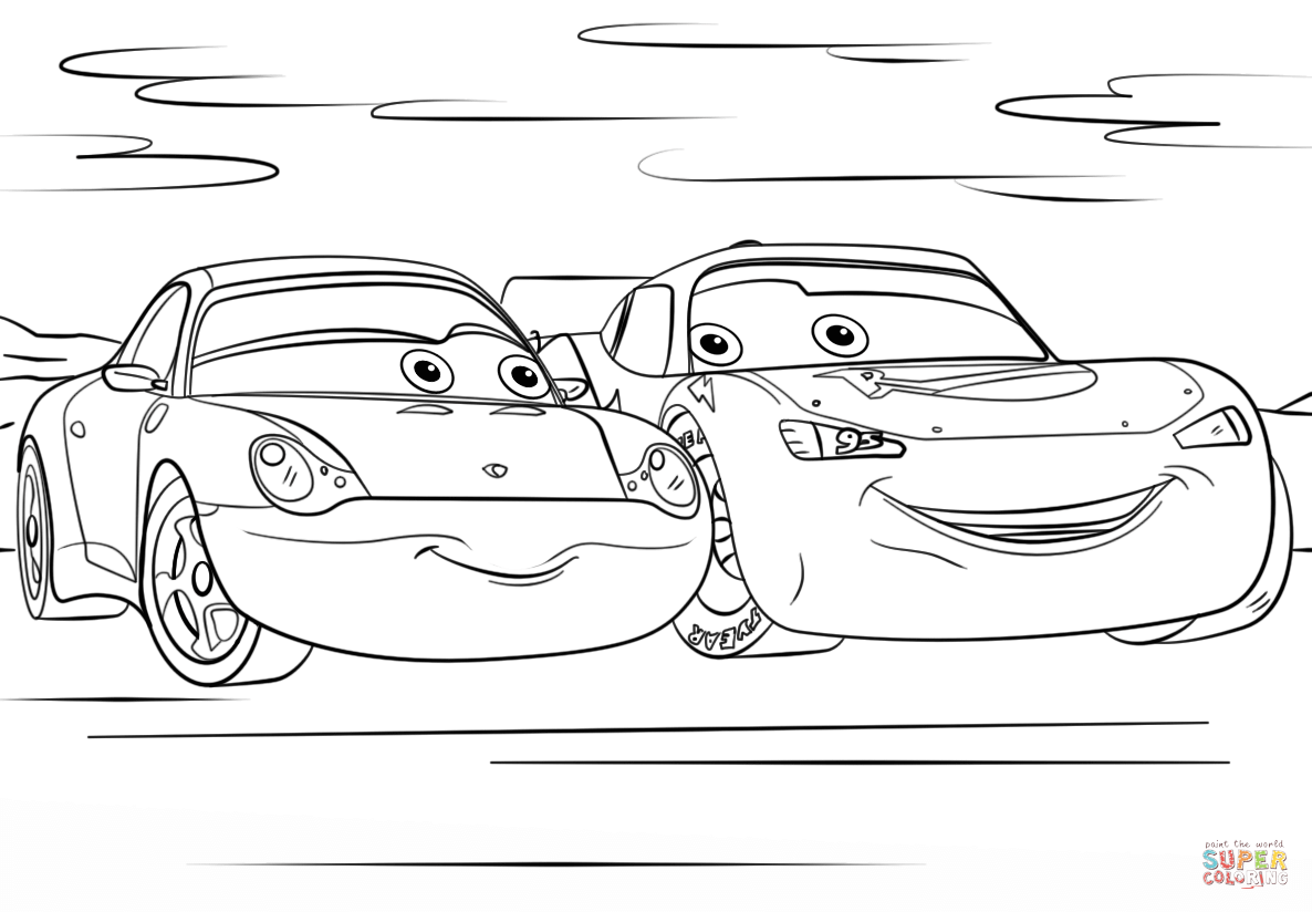 Lightning Mcqueen And Sally From Cars 3 Disney Coloring Page