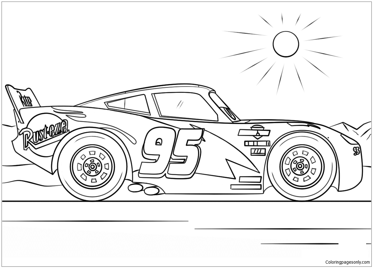 Lightning Mcqueen From Cars 4 Disney Coloring Page