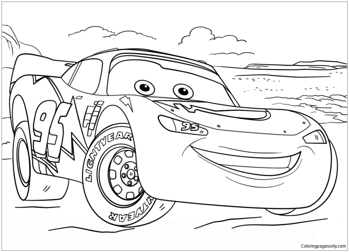 Lightning McQueen from Cars from Disney Cars Coloring Page