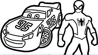 Lightning Mcqueen Monster Truck And Spiderman Coloring Page
