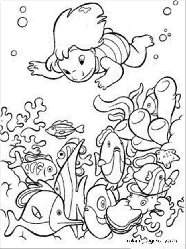 Lilo from Lilo and Stitch are diving under the sea to catch some fish Coloring Page