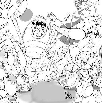 Line Art Dreamworks Trolls By Fabio Laguna Coloring Page